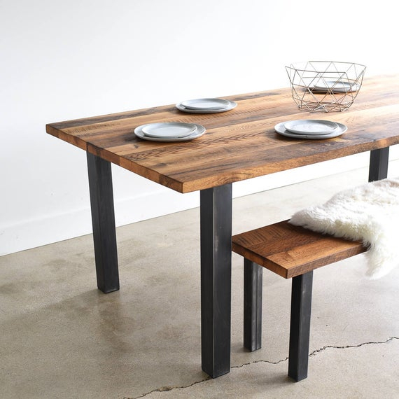 Well Liked Iron Wood Dining Tables With Metal Legs For Reclaimed Wood Dining Table / Industrial Post Metal Legs / Farmhouse Kitchen Table (View 4 of 20)