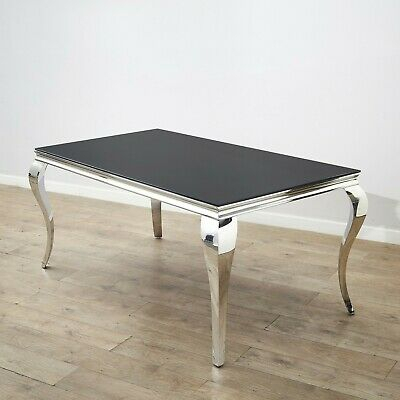Well Liked Rectangle Modern Dining Table Louis Style Polished Chrome With Regard To Chrome Dining Tables With Tempered Glass (#19 of 20)