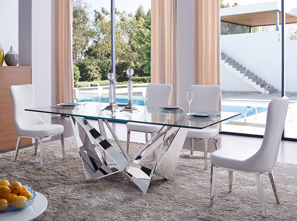 Well Liked Rectangular Glass Top Dining Table Ef 2061 Intended For Rectangular Glasstop Dining Tables (View 3 of 20)