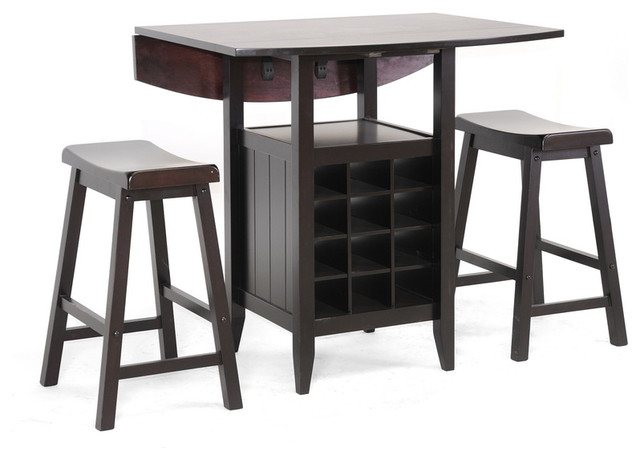 Well Liked Reynolds Black Wood 3 Piece Modern Drop Leaf Pub Set With Wine Rack Dark Brown Pertaining To Transitional 3 Piece Drop Leaf Casual Dining Tables Set (View 8 of 20)