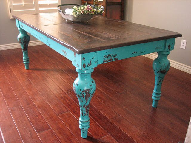 Well Liked Rustic Turquoise Dining Table (#20 of 20)