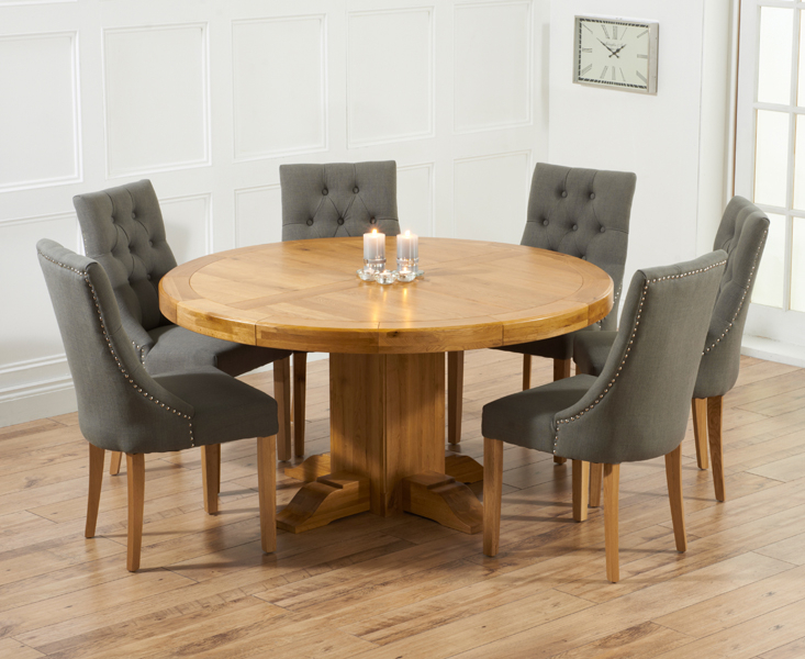 Well Liked Torino 150cm Solid Oak Round Pedestal Dining Table With Pacific Fabric Chairs For Solid Wood Circular Dining Tables White (View 6 of 20)