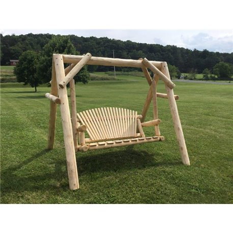 White Cedar Log Swing & Frame Inside 5 Ft Cedar Swings With Springs (View 15 of 20)