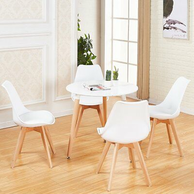 White Round Dining Table And 4 Dining Chairs Retro Solid Pertaining To 2020 Solid Wood Circular Dining Tables White (View 9 of 20)