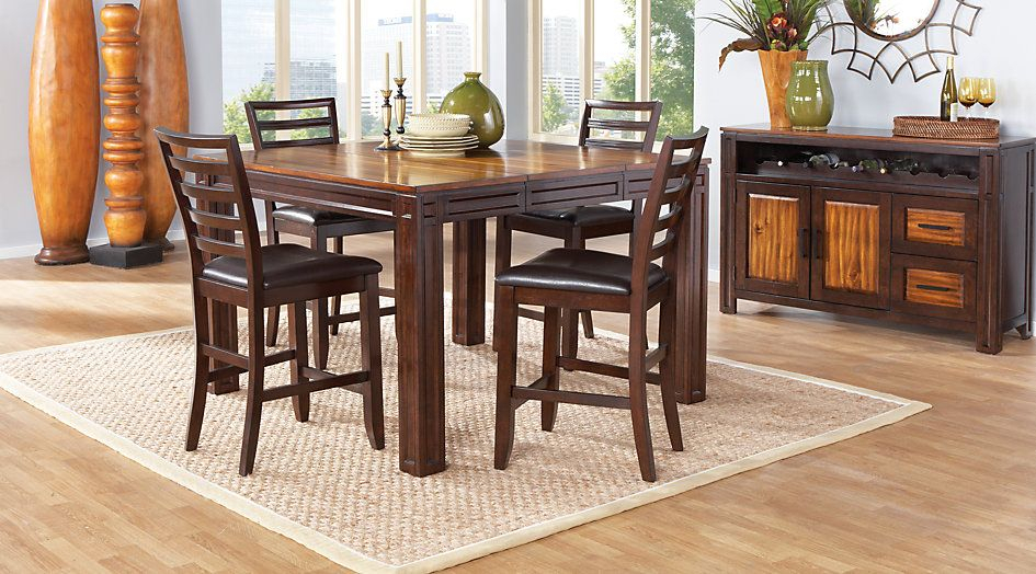 Widely Used Casual Dining Tables Adelson Chocolate 5 Pc Counter Height Within Transitional Antique Walnut Square Casual Dining Tables (View 8 of 20)