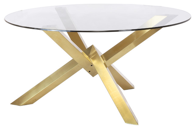 Widely Used Couture Brushed Gold Dining Table With Glass Top Intended For Dining Tables With Brushed Gold Stainless Finish (#19 of 20)