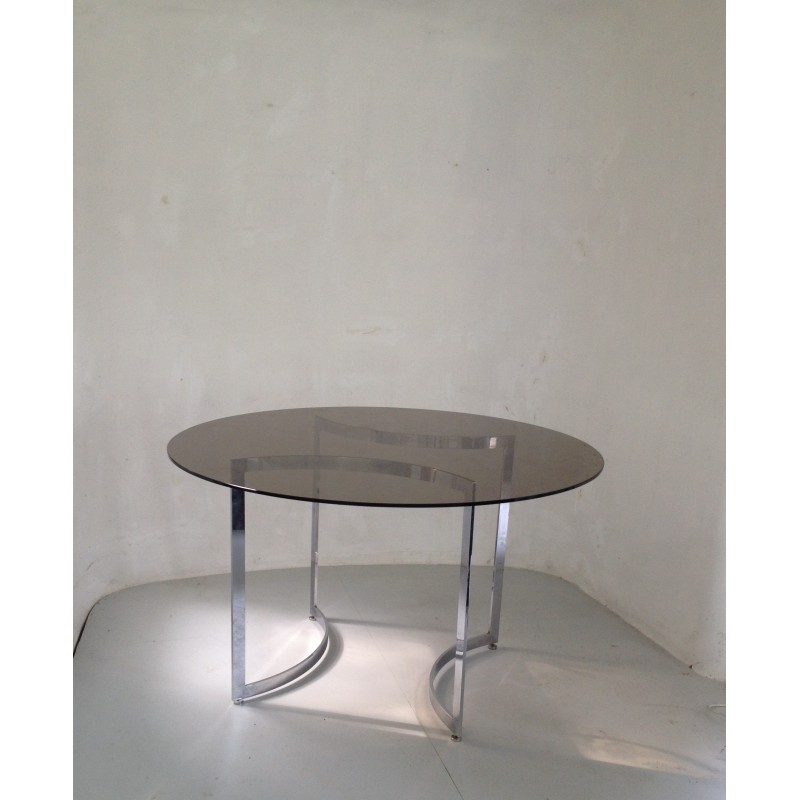 Widely Used Dom Round Dining Table In Hardened Glass And Steel, Paul Legeard – 1970S For Dom Round Dining Tables (#19 of 20)