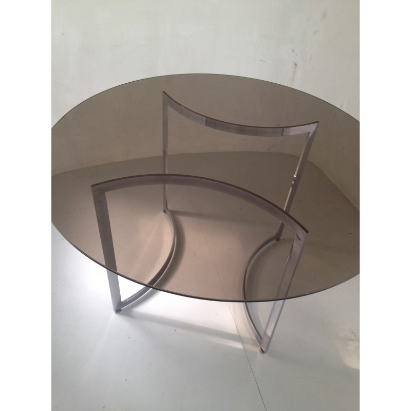 Widely Used Dom Round Dining Table In Hardened Glass And Steel, Paul Legeard – 1970S Pertaining To Dom Round Dining Tables (#20 of 20)