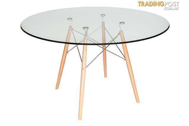 Widely Used Eames Style Dining Tables With Chromed Leg And Tempered Glass Top With Replica Eames Dsw Eiffel Dining Table Natural Wood Legs (#20 of 20)