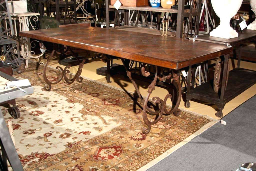 Widely Used Heavy Wooden Dining Table Wood Round Solid Wrought Iron Base In Iron Wood Dining Tables (#20 of 20)