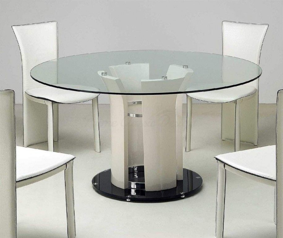 Popular Photo of Modern Round Glass Top Dining Tables