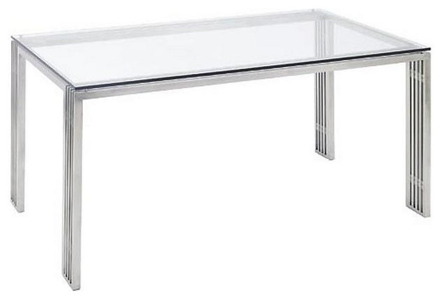 Widely Used Modern Dining Table With Brushed Stainless Steel Frame With Dining Tables With Brushed Stainless Steel Frame (#20 of 20)