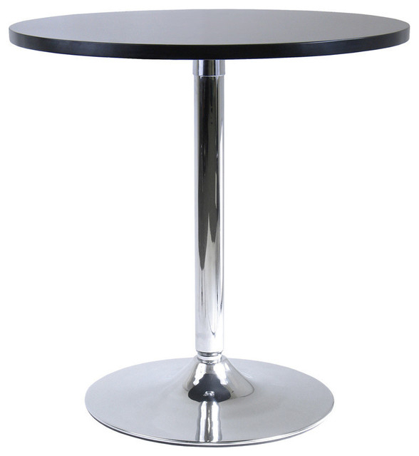 Winsome Spectrum Round Casual Dining Table In Black And Chrome For Trendy Chrome Contemporary Square Casual Dining Tables (#20 of 20)