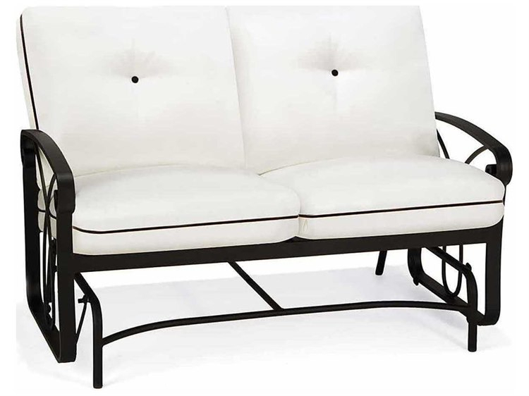 Winston Palazzo Cushion Cast Aluminum Arm Loveseat Glider Throughout Aluminum Glider Benches With Cushion (View 7 of 20)