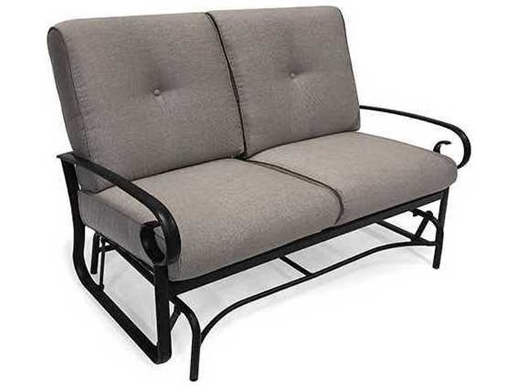 Winston Quick Ship Veneto Cushion Cast Aluminum Loveseat Glider Regarding Aluminum Glider Benches With Cushion (View 9 of 20)