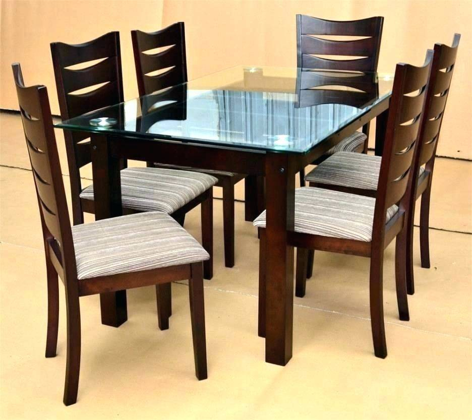 Wood And Glass Dining Table Tables Chairs Pertaining Set Pertaining To 2019 Round Glass Top Dining Tables (View 20 of 20)
