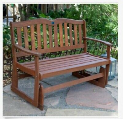Wood Glider Bench 2 Person Outdoor Patio Country Garden For 2 Person Natural Cedar Wood Outdoor Gliders (#20 of 20)
