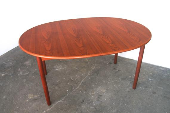 Wood Kitchen Dining Tables With Removable Center Leaf Within Preferred Danish Modern Teak Oval Expanding Dining Table Wood With Extension Leaf Mid Century Vintage (View 9 of 20)