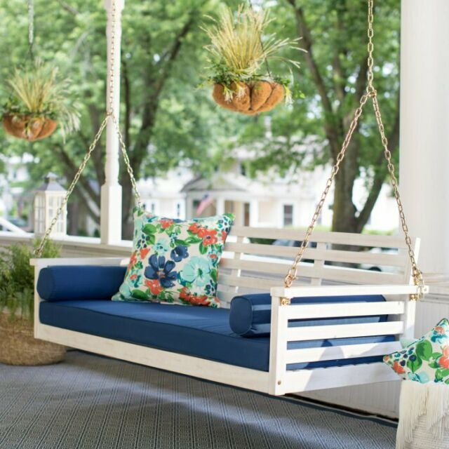 Wood Porch Swing, Patio Sofa Couch + Deck Bed + Seat Cushion Pad, Bolster Throughout Daybed Porch Swings With Stand (#20 of 20)