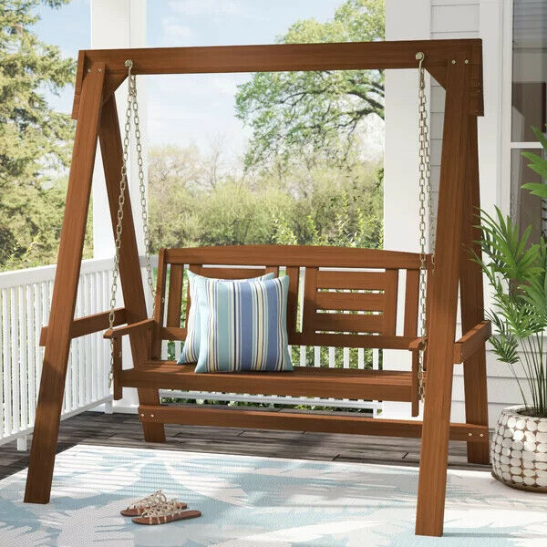 Wood Porch Swing With Stand 2 Seat Glider Outdoor Patio Furniture Hanging  Bench With Porch Swings With Stand (#18 of 20)