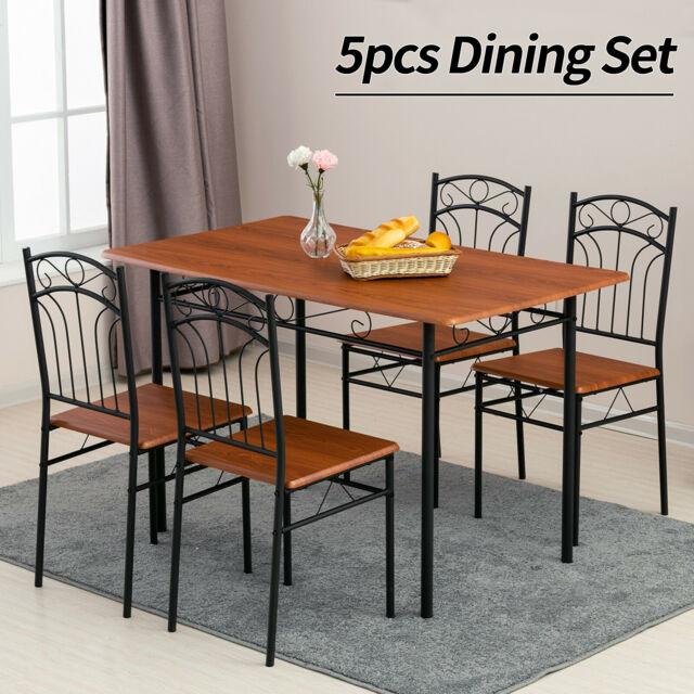 Wood Top Dining Tables With Regard To Most Current 5 Piece Metal Dining Table Set 4 Chairs Wood Top Table Kitchen Furniture  Brown (#17 of 20)