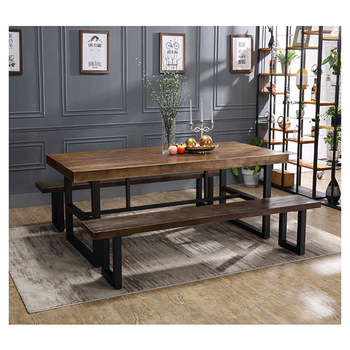 Wood Top Dining Tables Within Popular Best Price Rectangle Black Iron Dine Table Wood Top Metal Base Dining Tables – Buy Metal Base Dining Tables,best Price Dining Tables,wood Top Dining (View 7 of 20)