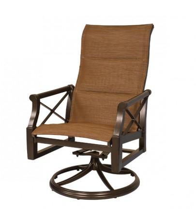 Woodard Andover High Back Padded Sling Swivel Rocker Regarding Padded Sling High Back Swivel Chairs (#15 of 20)