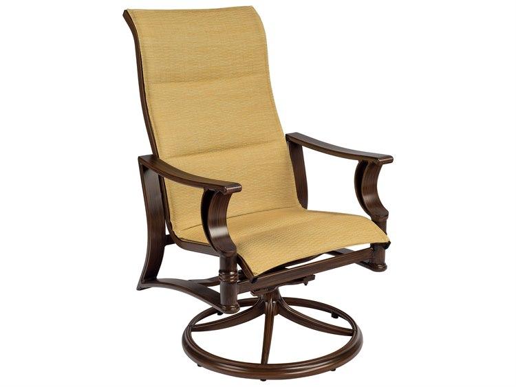Woodard Arkadia Padded Sling Aluminum High Back Swivel Rocker Dining Chair Throughout Padded Sling High Back Swivel Chairs (#16 of 20)