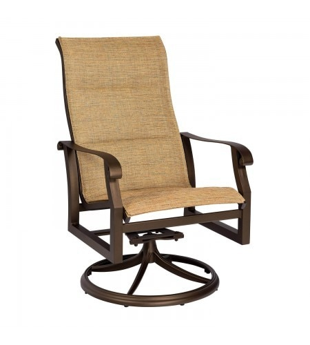Woodard Cortland Outdoor Padded Sling High Back Dining For Padded Sling High Back Swivel Chairs (#17 of 20)