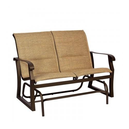 Woodard Cortland Padded Sling Gliding Loveseat Regarding Padded Sling Loveseats With Cushions (#20 of 20)