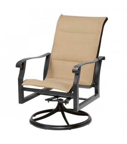 Woodard Cortland Padded Sling High Back Swivel Rocker With Regard To Padded Sling High Back Swivel Chairs (#18 of 20)