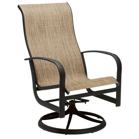 Woodard Fremont Sling High Back Swivel Rocker Dining Arm In Padded Sling High Back Swivel Chairs (#20 of 20)