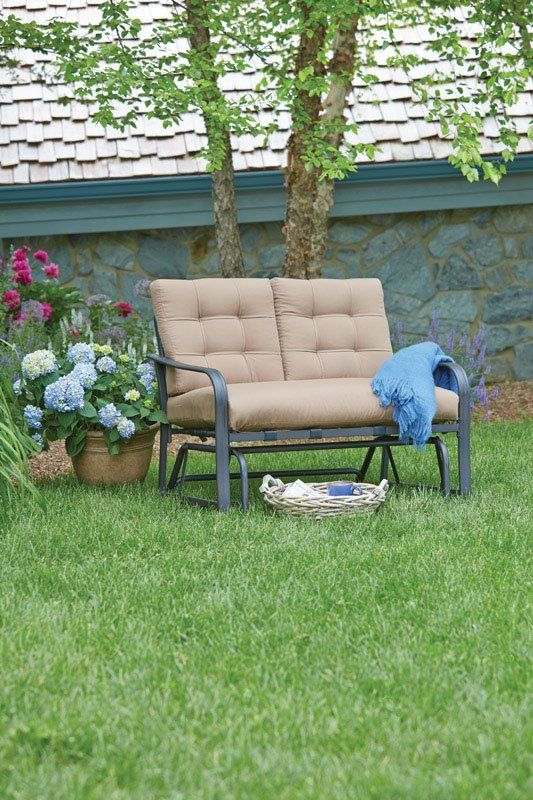 Woodbury Glider Bench With Cushions   2018 Christmas   Patio Regarding Rocking Glider Benches With Cushions (View 19 of 20)
