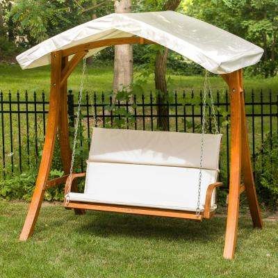 Wooden Patio Swing Seater With Canopy Pertaining To Outdoor Canopy Hammock Porch Swings With Stand (View 10 of 20)