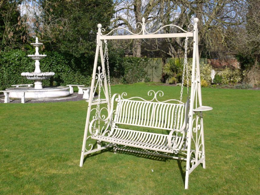 Wrought Iron French Cream Antique Style Garden Bench Swing In 1 Person Antique Black Iron Outdoor Swings (#20 of 20)