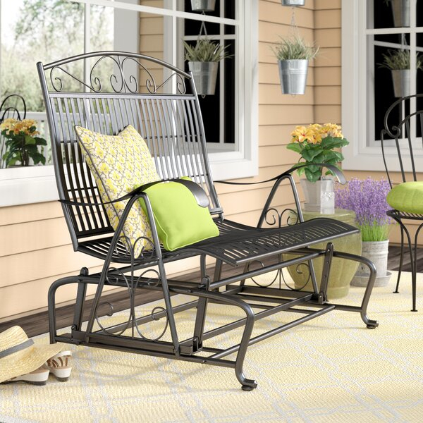 Wrought Iron Patio Glider | Wayfair Regarding 2 Person Antique Black Iron Outdoor Gliders (#20 of 20)