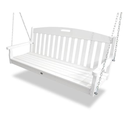 Yacht Club 2 Person Classic White Recycled Plastic Outdoor Swing For 2 Person Black Wood Outdoor Swings (View 15 of 20)