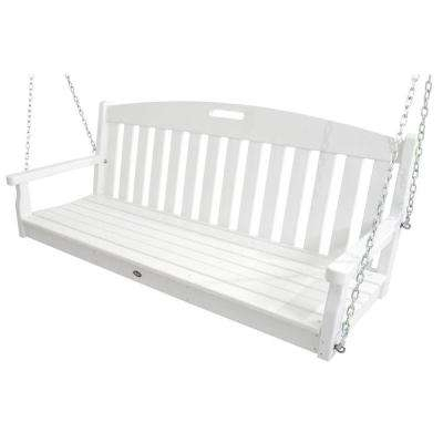 Yacht Club Classic White Patio Swing In Casualthames White Wood Porch Swings (View 8 of 20)