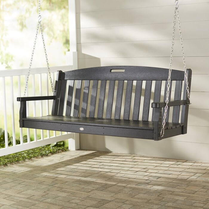 Yacht Club Porch Swing With Regard To Vineyard 2 Person Black Recycled Plastic Outdoor Swings (View 14 of 20)