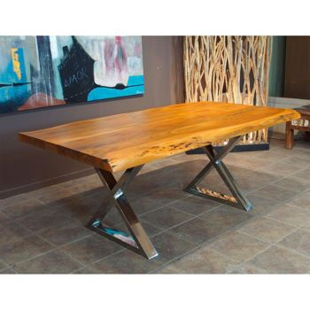Inspiration about Zen Acacia Live Edge X Leg 182.9 Cm (72 In.) Dining Table With Preferred Acacia Dining Tables With Black X Legs (#7 of 20)