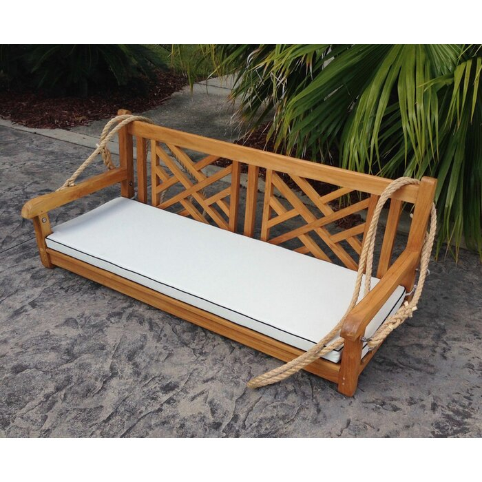 Inspiration about Zion Teak Porch Swing With 3 Person Light Teak Oil Wood Outdoor Swings (#11 of 20)