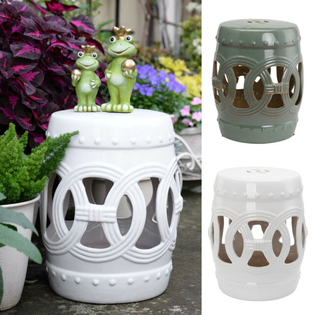 "14""x18"" Small Ceramic Outdoor Patio Knotted Rings Garden Stool End Table Intended For Ceramic Garden Stools (View 17 of 20)"