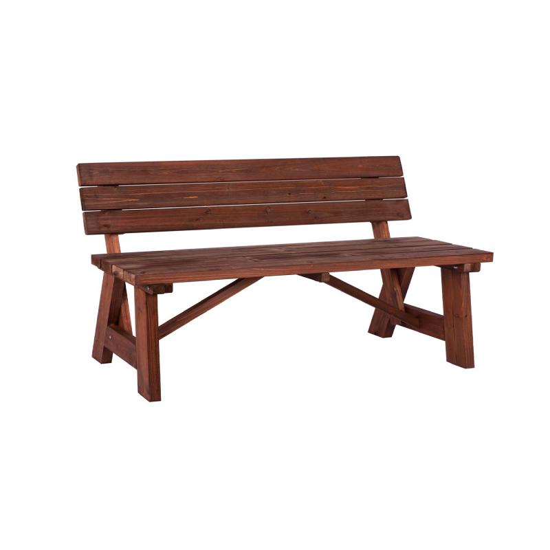 Abbey 2seater Wooden Fir – Walnut Garden Bench Intended For Walnut Solid Wood Garden Benches (View 3 of 20)