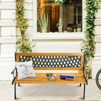 Allayna Outdoor Cast Iron Park Bench With Regard To Strasburg Blossoming Decorative Iron Garden Benches (View 15 of 20)