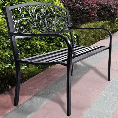 Annemary Park Steel Garden Bench Pertaining To Strasburg Blossoming Decorative Iron Garden Benches (View 8 of 20)