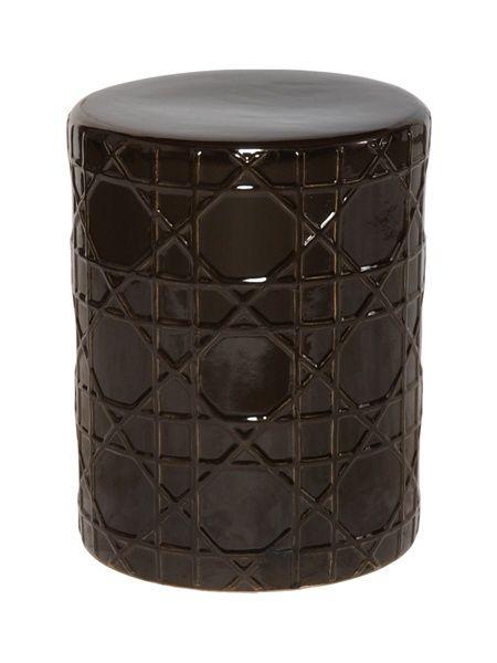 Black Ceramic Garden Stool In Cane Pattern (View 8 of 20)