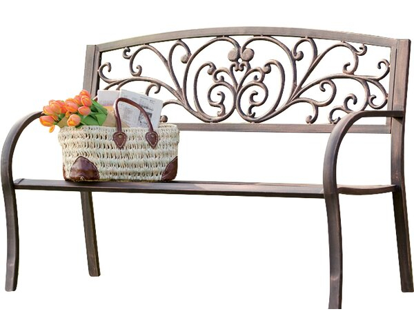 Blooming Iron Garden Bench Within Strasburg Blossoming Decorative Iron Garden Benches (View 4 of 20)