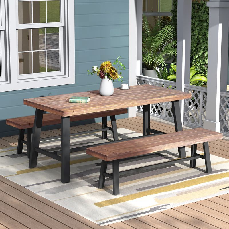 Dasun Outdoor Table And Bench Set , Solid Wood, Walnut – Walmart In Walnut Solid Wood Garden Benches (View 5 of 20)