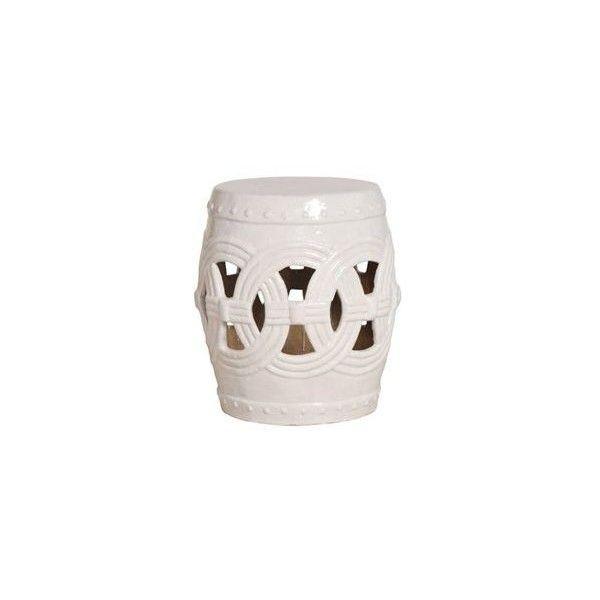 Emissary White Ceramic Garden Stool (£370) ❤ Liked On Pertaining To Fifi Ceramic Garden Stools (View 9 of 20)