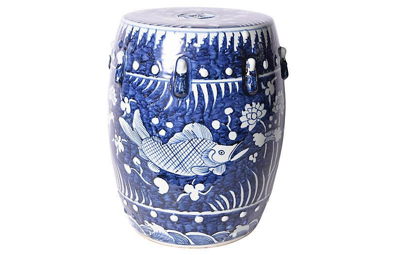 Fish Lotus Garden Stool, Blue/white | One Kings Lane In 2020 With Regard To Fifi Ceramic Garden Stools (View 15 of 20)